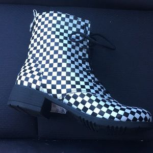 Checkered combat boots